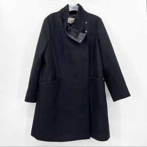BANANA REPUBLIC Black Zip Wool Trench Coat Jacket
